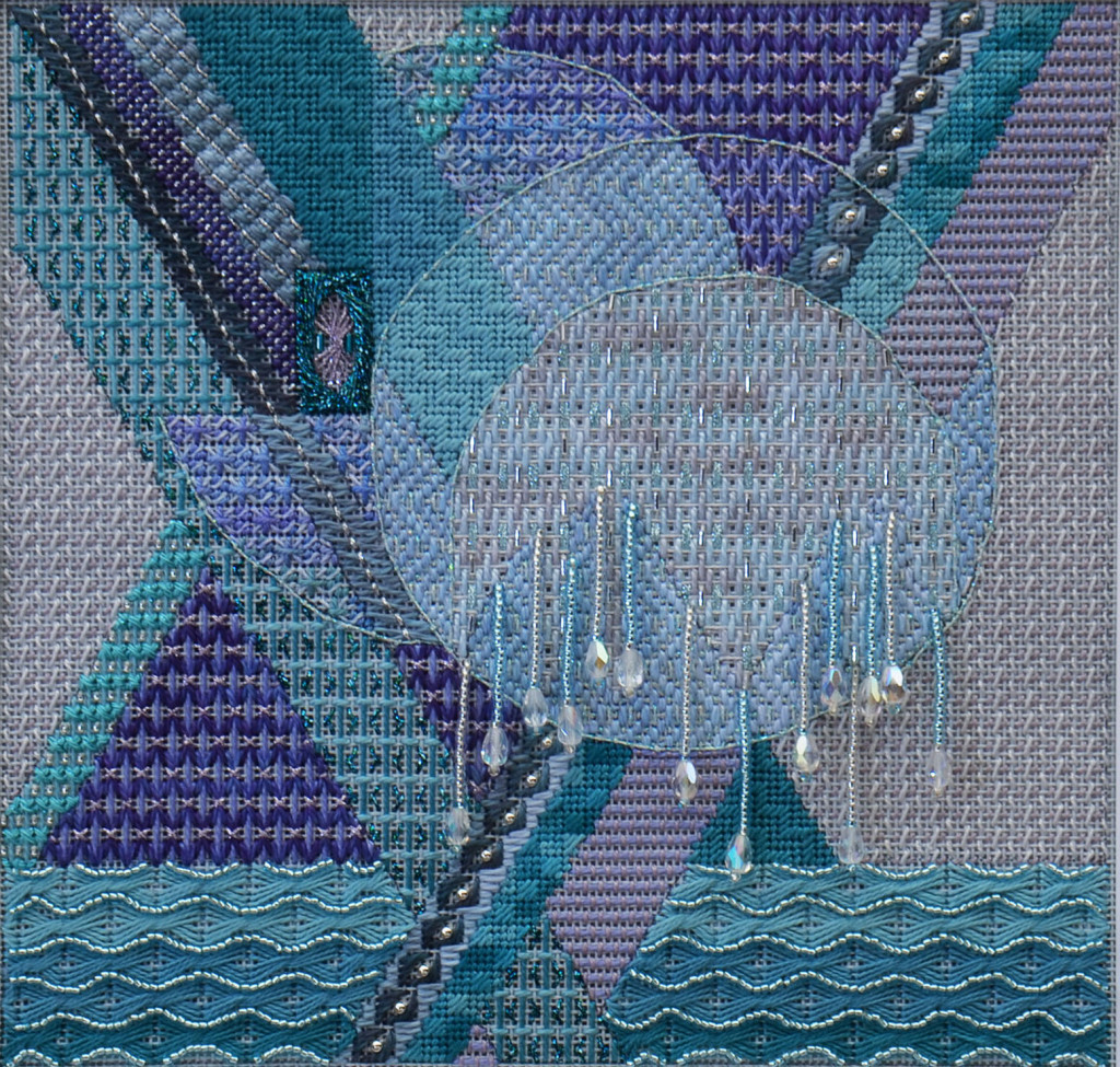 """Stitched area 8"""" x 7-3/4"""" Stitched on 18ct. Opalescent mono canvas"""