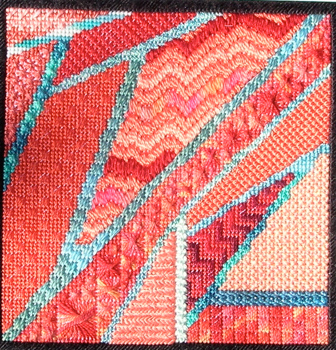"""Stitched area 7"""" x 7""""   Stitched on 14ct. mono canvas"""