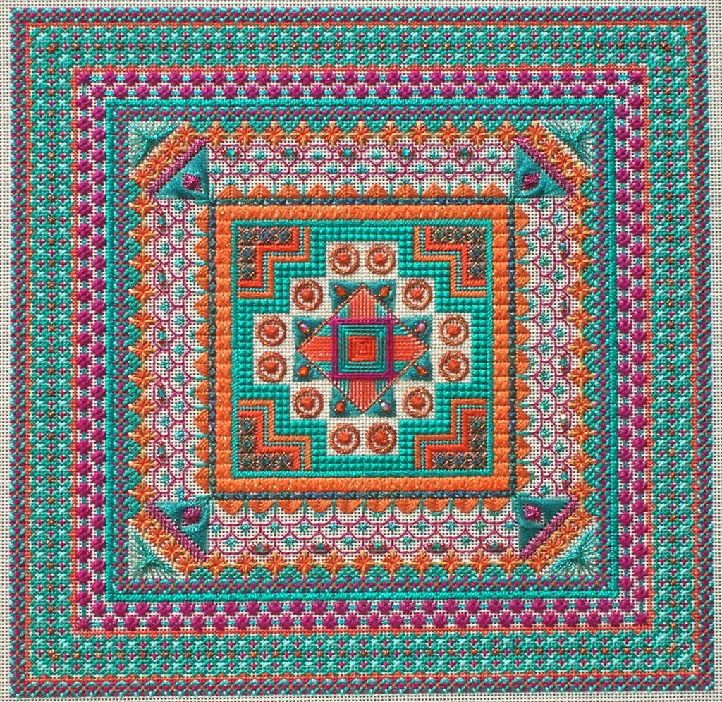 "Stitched area 11"" x 11"" Stitched on 18ct. Ecru mono canvas"